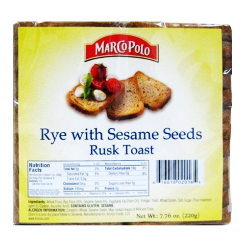 Rye with Sesame Golden Rusks 220g (Marco Polo)