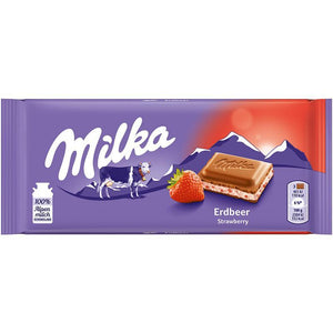 Milka Chocolate Bar w. Strawberry   100g (Milka) (4433752358946)