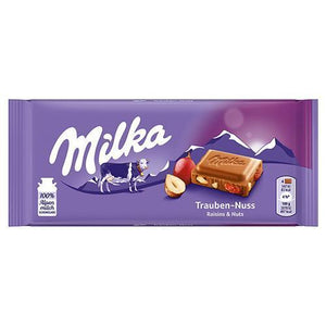 Milka Chocolate w. Raisins and Nuts, Trauben-Nuss   100g (Milka) (4433753243682)
