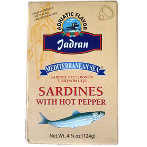Jadran Mediterranean Sardines with Hot Peppers 124g (Orbe)