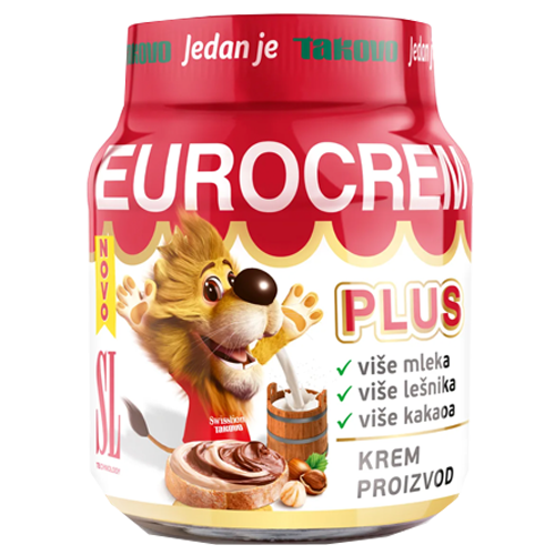Eurocrem PLUS Hazelnut Milk And Cocoa Spread  350g (Takovo)
