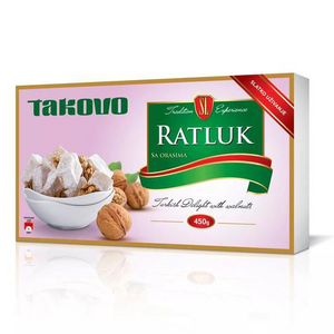 Turkish Delight with Walnuts / Ratluk sa Orasima 450g (Takovo)
