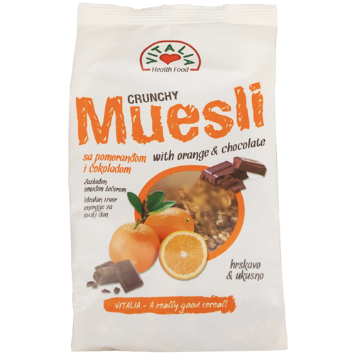 Crunchy Muesli w. Chocolate and Orange 320g (Vitalia)