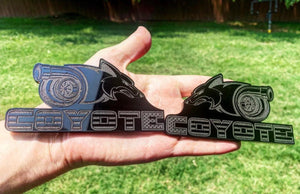 Turbo Coyote Badges (2) - Forged Concepts Custom Car Badges