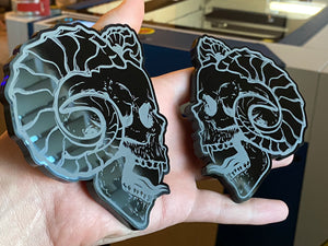 Evil Horned Skulls (2) - Forged Concepts Custom Car Badges