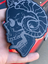 Load image into Gallery viewer, Evil Horned Skulls (2) - Forged Concepts Custom Car Badges