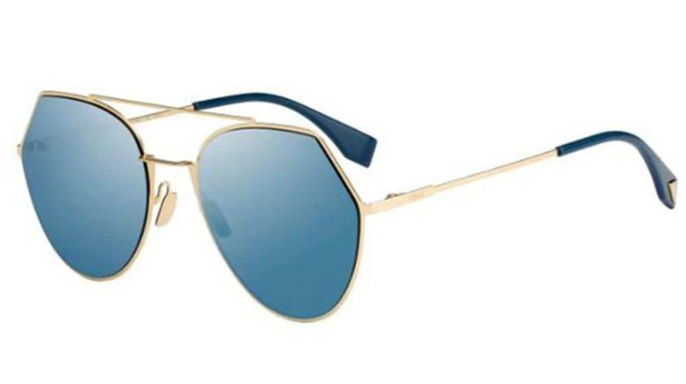 Fendi 0194 Eyeline Mirrored Aviator Sunglasses in Blue