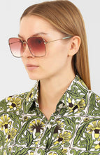 Load image into Gallery viewer, Gucci 0443S Tortoiseshell Burgundy Lens Square Metal Sunglasses