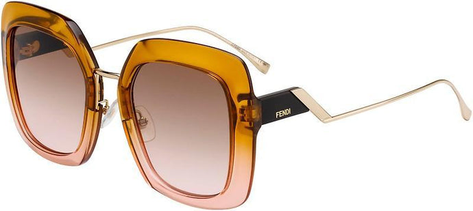 Fendi 0317/S Orange Tropical Shine Oversized Square Sunglasses