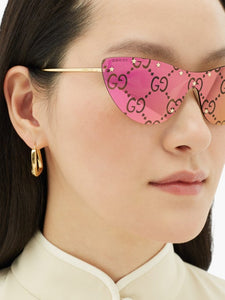Gucci GG0666S Cat Eye Logo Mirrored Pink Sunglasses