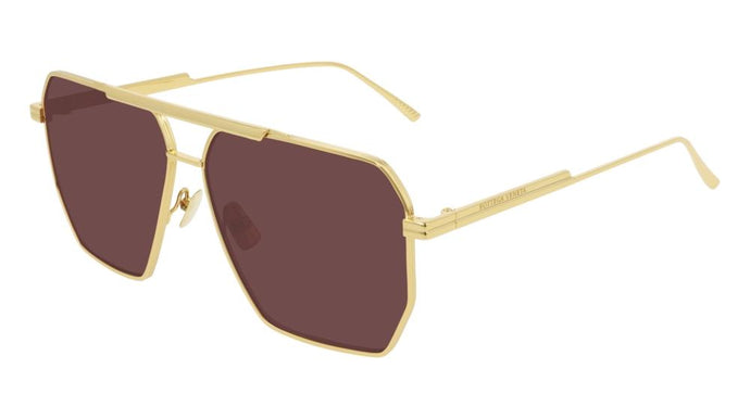 Bottega Veneta BV1012/S Minimalist Aviator Sunglasses in Gold/Red Lens