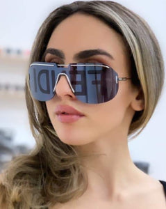 Fendi FFM0098/S Code Logo Dark Grey Mirrored Shield Sunglasses
