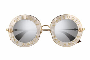 Gucci 0113S Blind For Love Round Mirrored Sunglasses