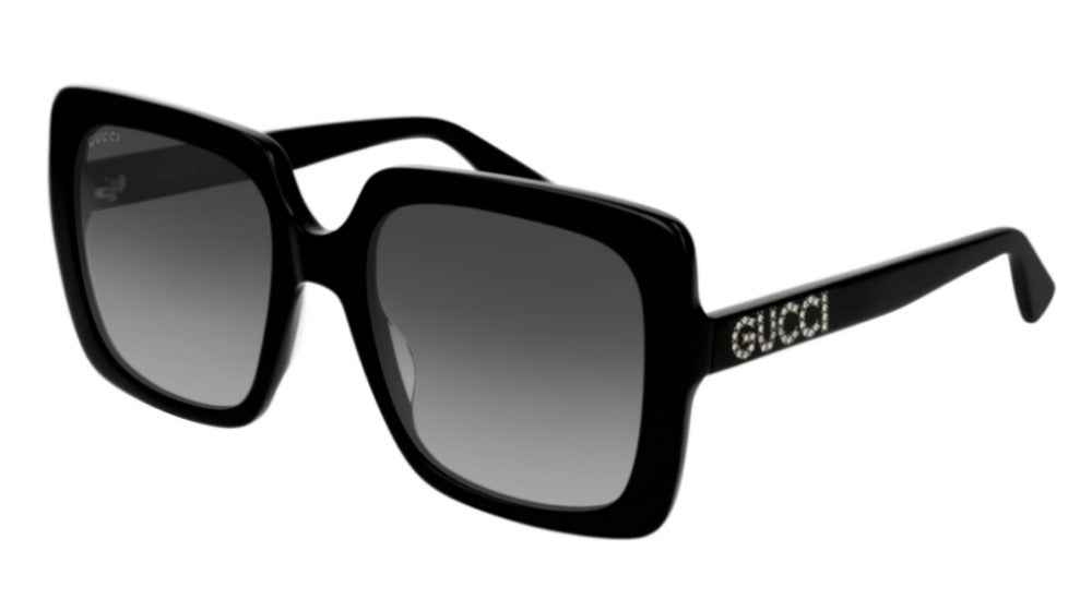 Gucci 0418S Black Square Crystal Logo Sunglasses