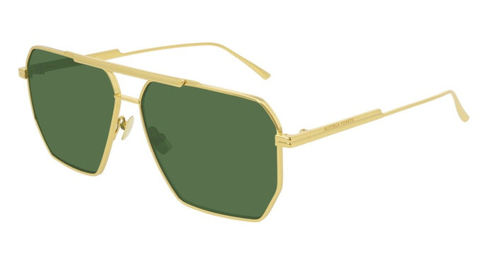 Bottega Veneta BV1012/S Minimalist Aviator Sunglasses in Gold/Green Lens