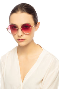 Chloe CE143S Rosie Scalloped Sunglasses in Pink Gradient