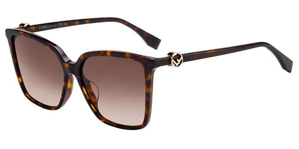 Fendi 0330/F/S Havana Brown Square Logo Sunglasses