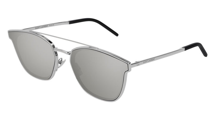 Saint Laurent SLM28 Silver Mirrored Double Bridge Sunglasses