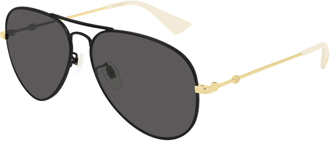 Gucci GG0515S Rounded Metal Aviator Black Sunglasses