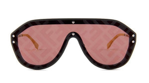 Fendi FFM0039/G/S Fabulous Logo Mirrored Sunglasses in Grey Red Lens