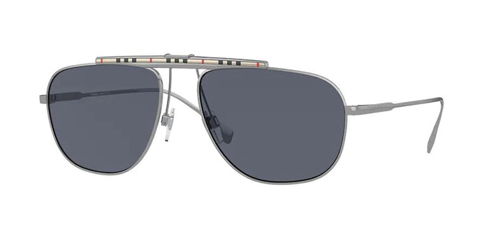 Burberry BE3121 Dean Checked Bar Aviator Sunglasses in Gunmetal