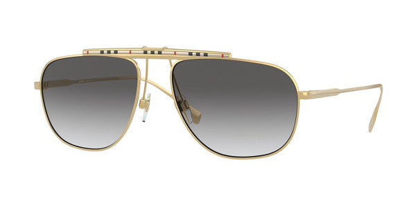 Burberry BE3121 Dean Checked Bar Aviator Sunglasses in Gold
