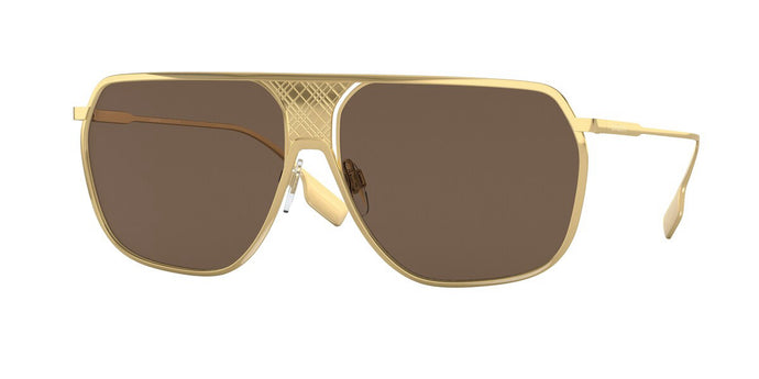 Burberry BE3120 Gold Metal Etched Logo Aviator Sunglasses