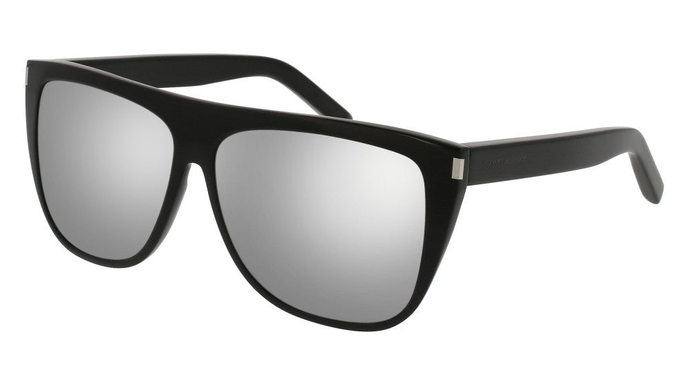 Saint Laurent SL1 Oversized Flat Top Sunglasses in Silver Mirrored