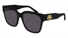 Load image into Gallery viewer, Balenciaga BB0056SA 001 Logo Plaque Square Sunglasses in Black