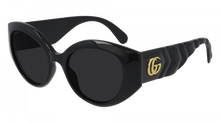 Load image into Gallery viewer, Gucci 0809S Thick Rim Oval Quilted Sunglasses in Black