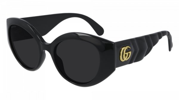 Gucci GG0809S Thick Rim Oval Quilted Sunglasses in Black