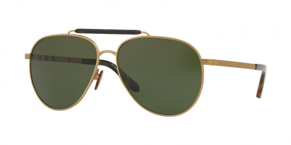 Burberry BE3097 Gold Metal Unisex Aviator Sunglasses