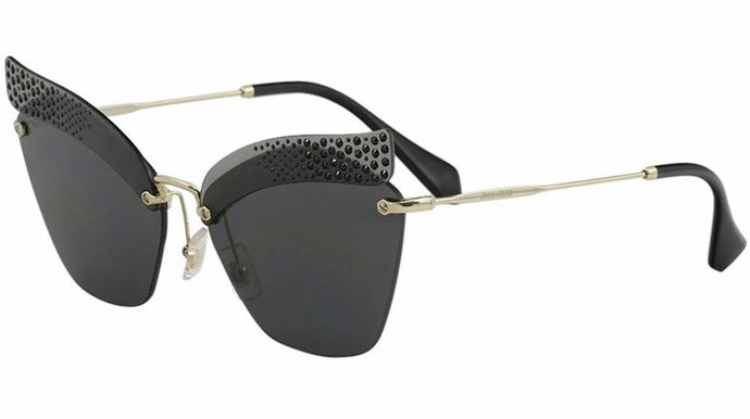 Miu Miu 56TS Black Crystal Oversized Cat Eye Sunglasses