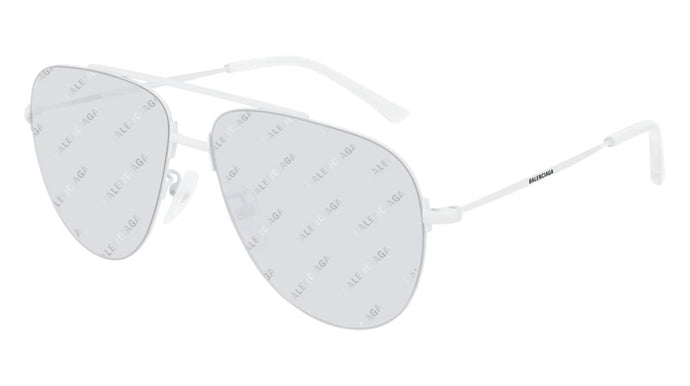 Balenciaga BB0013S 006 Logo Mirrored Sunglasses in White