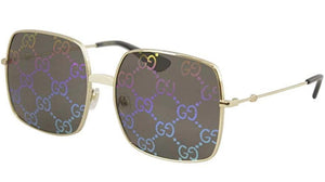 Gucci 0414S Rainbow Logo Mirrored Lens Oversized Sunglasses