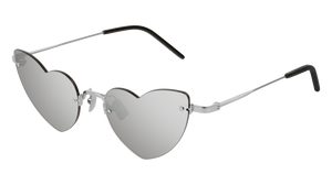 Saint Laurent SL254 Loulou Heart Rimless Sunglasses in Silver