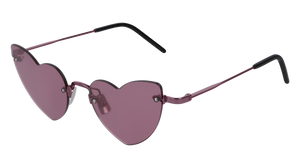 Saint Laurent SL254 Loulou Heart Rimless Sunglasses in Pink