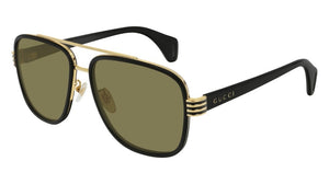 Gucci 0448S Black Square Aviator Sunglasses