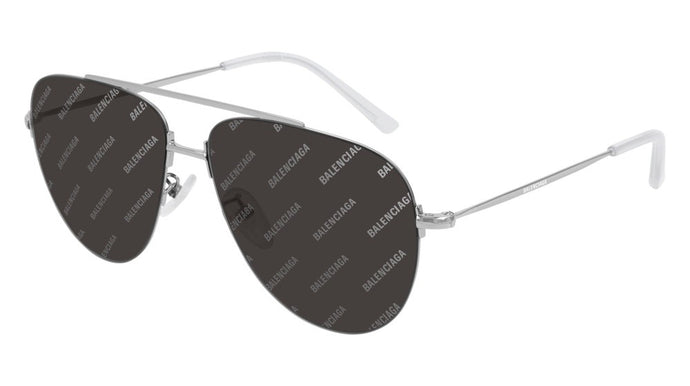 Balenciaga BB0013S 004 Logo Mirrored Sunglasses in Grey