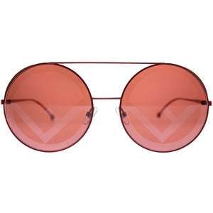 Fendi FF0285/S Logo Oversized Mirrored Round Sunglasses in Red