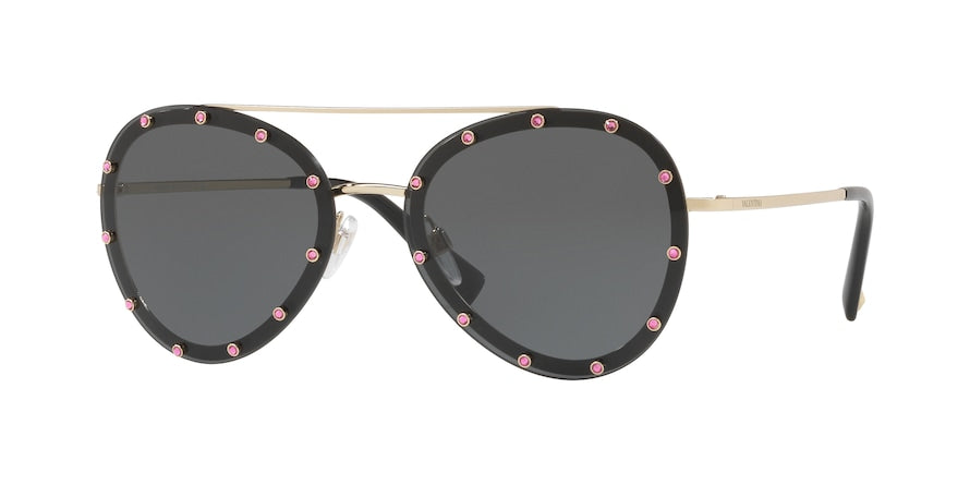 Valentino 2013 Black Pink Crystal Studded Aviator Sunglasses