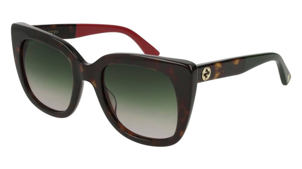 Gucci 0163S Brown Squared Cat Eye Logo Sunglasses