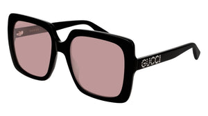 Gucci 0418S Black Pink Lens Square Crystal Logo Sunglasses
