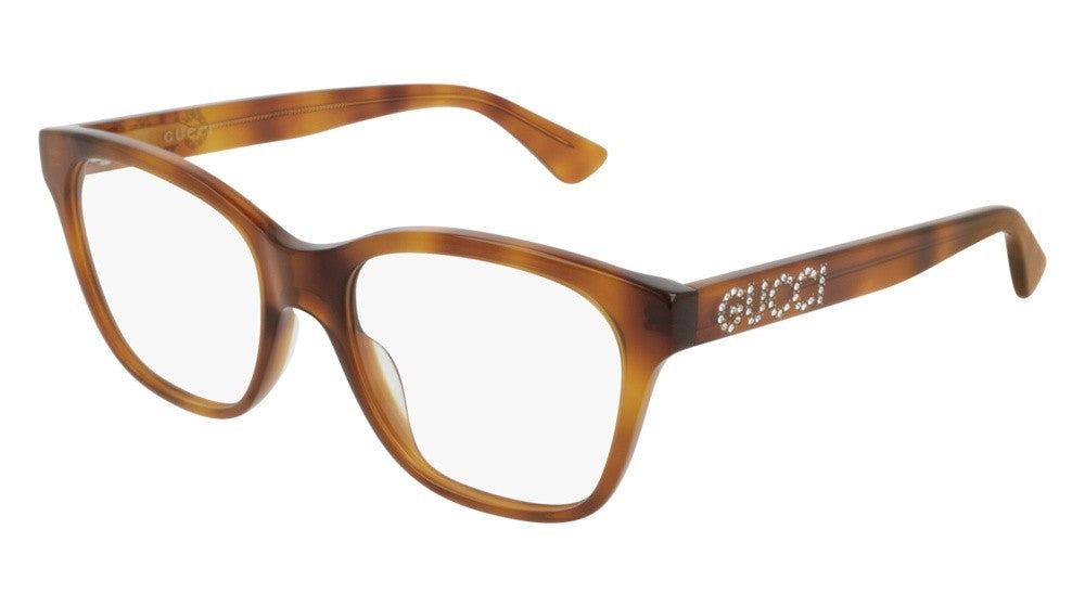 Gucci 0420O Crystal Logo Cat Eye Eyeglasses Frames in Light Brown