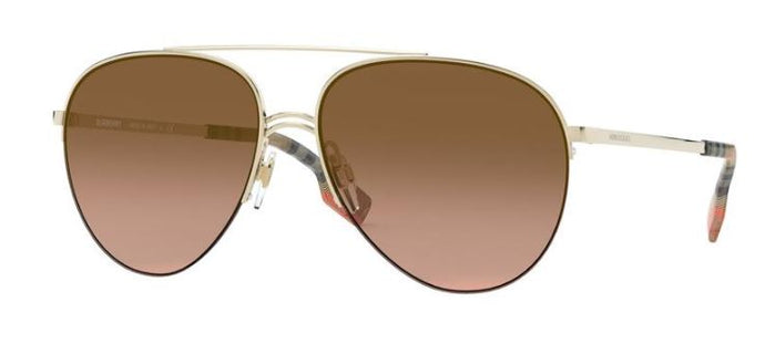 Burberry BE3113 Gold Brown Gradient Lens Aviator Sunglasses
