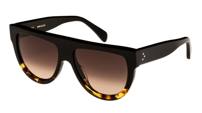 Celine CL4001IN Black Brown Shadow Flat Top Sunglasses