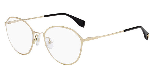 Fendi 0340F Gold Metal Rounded Eyeglasses Frames