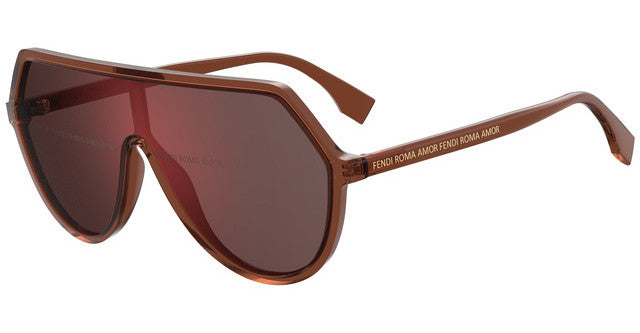 Fendi 0377/S Roma Oversized Mirrored Logo Lens Shield Sunglasses