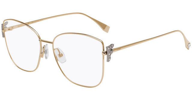 Fendi FF0390/G Freedom Crystal Logo Metal Cat Eye Eyeglasses Frames