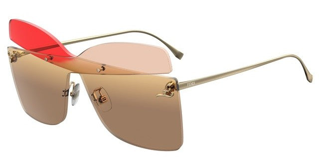 Fendi 0399/S Kalligraphy Square Oversized Sunglasses in Multicolor Brown